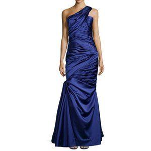 Monique Lhuillier One-Shoulder Pleated Draped Gown